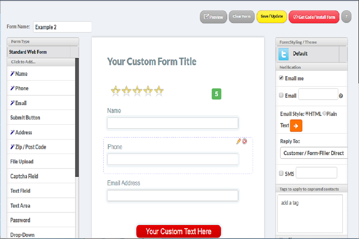 Website Forms Generator Software